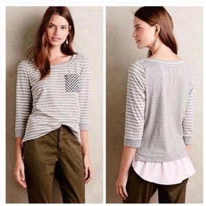 Little Yellow Button's Gray & White Striped Top
